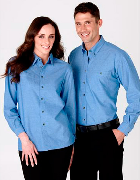 Mens-&-Ladies-Wrinkle-Free-Long-Sleeve-Chambray-Shirt