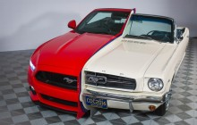 Side by side display shows 50 years of Ford Mustang